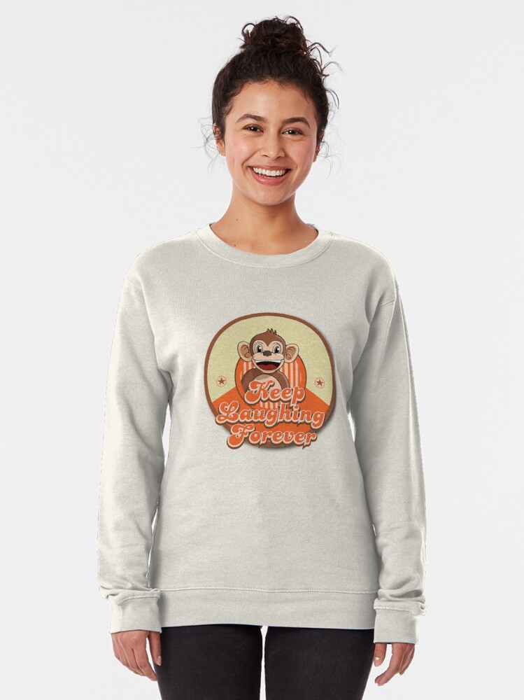 Alternate view of Keep Laughing Forever Retro Monkey Pullover Sweatshirt