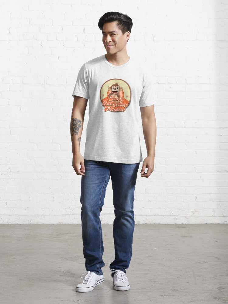 Alternate view of Keep Laughing Forever Retro Monkey Essential T-Shirt