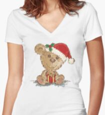 Teddy bear at Christmas Women's Fitted V-Neck T-Shirt