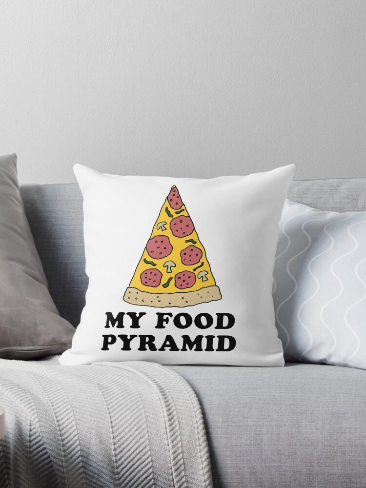 My Food Pyramid Cartoon Pizza Throw Pillow By Jaycartoonist Redbubble