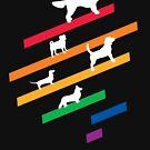 Cosmic Rainbow Dogs - Streifen und Silhouetten von XOOXOO