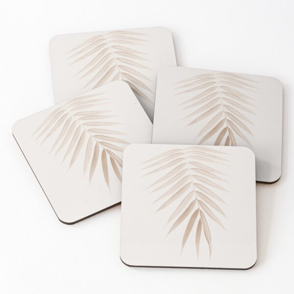 Palm Leaf Finesse #1 #minimal #tropical #decor #art  Coasters (Set of 4)