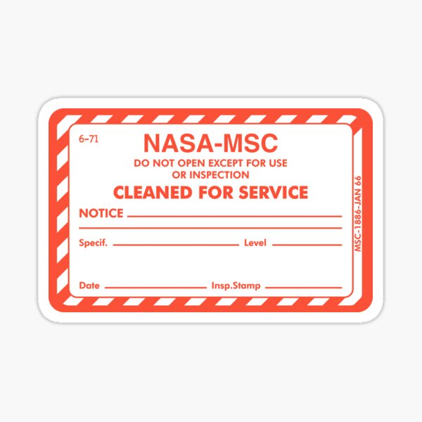 """NASA """"Cleaned for Service"""" Certification Label Sticker"""