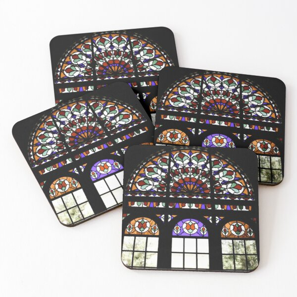 Persian Rainbow Stained Glass Window Photograph Coasters (Set of 4)