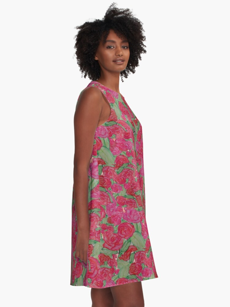 Alternate view of ROSES FLORAL FANTASY PRINT WATERCOLOUR A-Line Dress