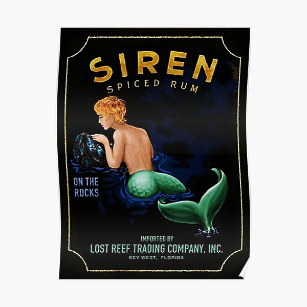 """Vintage Siren """"Mermaid"""" Lost Reef Key West Spiced Rum Lithograph Wall Art Poster"""
