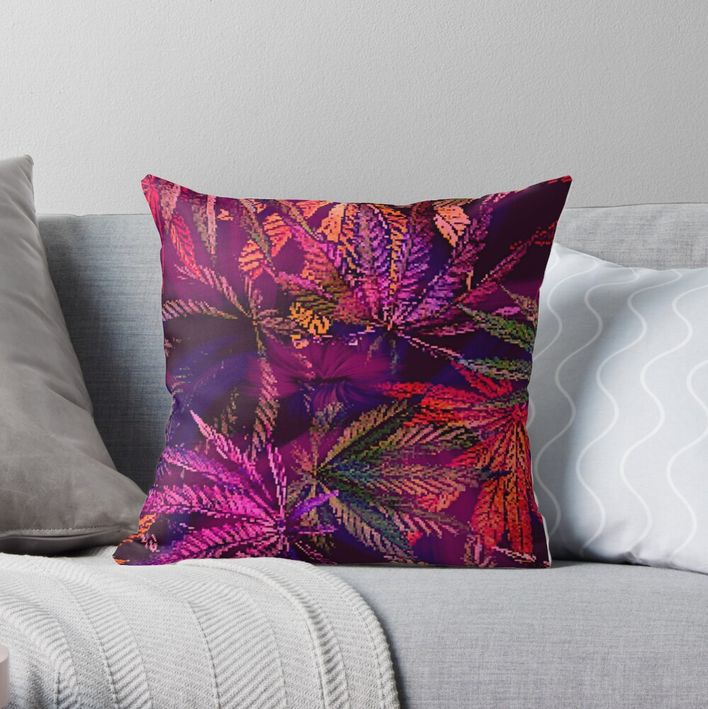 Dank Red Pink and Purple Marijuana 420 Cannabis Print Throw Pillow