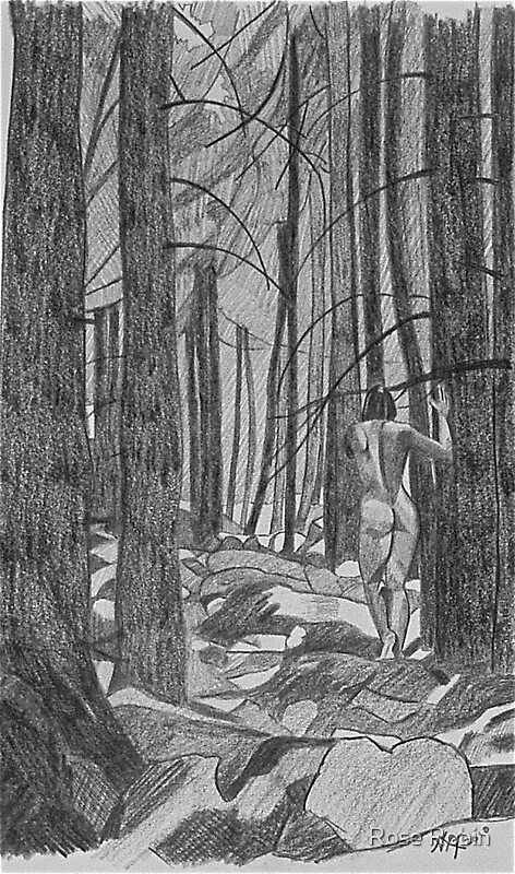 Walking nude in the woods