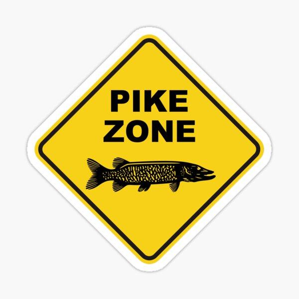Pike Fishing Zone Sign Sticker