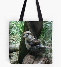 Kookaburra sits on the ol' tree stump Tote Bag