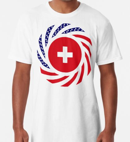 Swiss American Multinational Patriot Flag Series Long T-Shirt