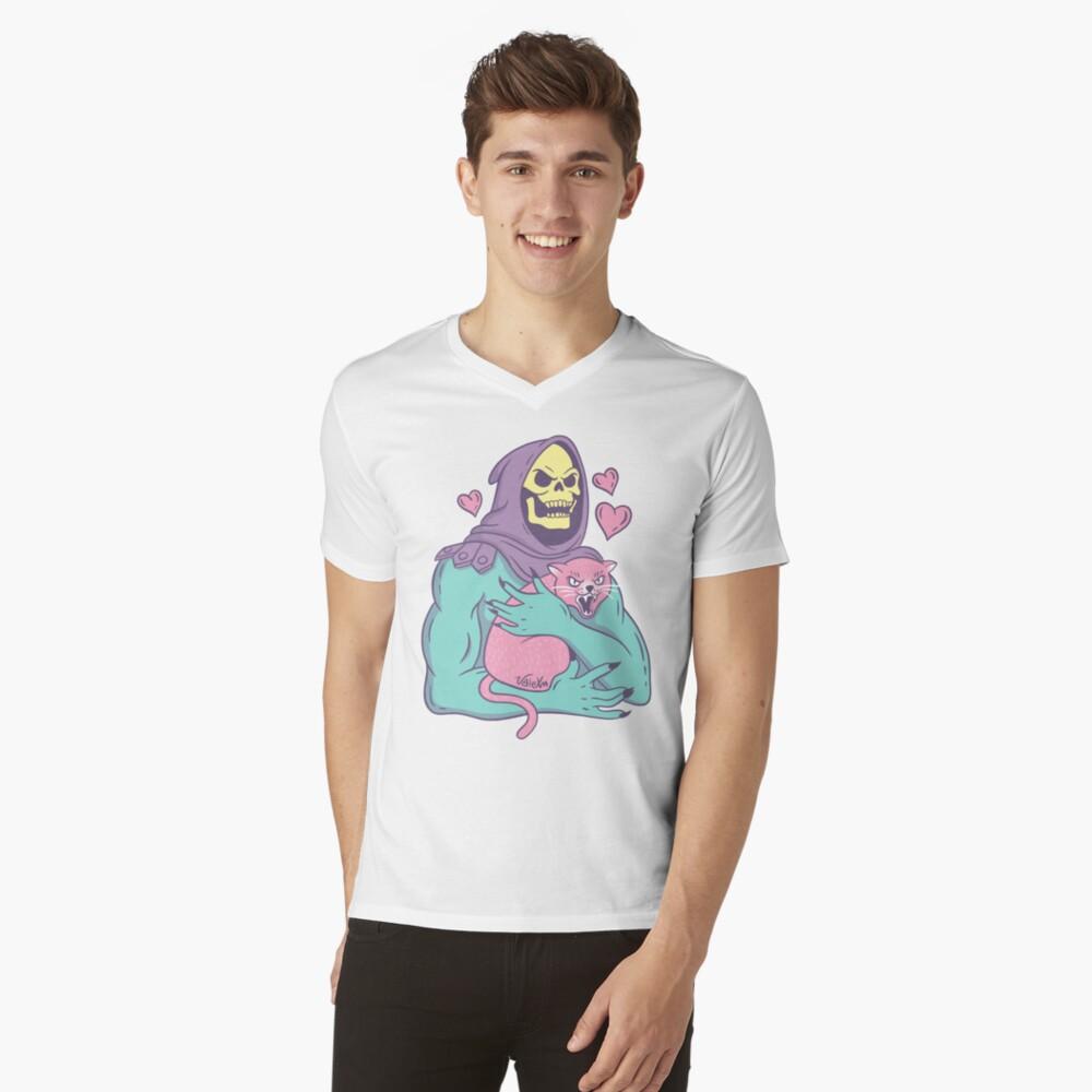 Gato de esqueleto Camiseta de cuello en V