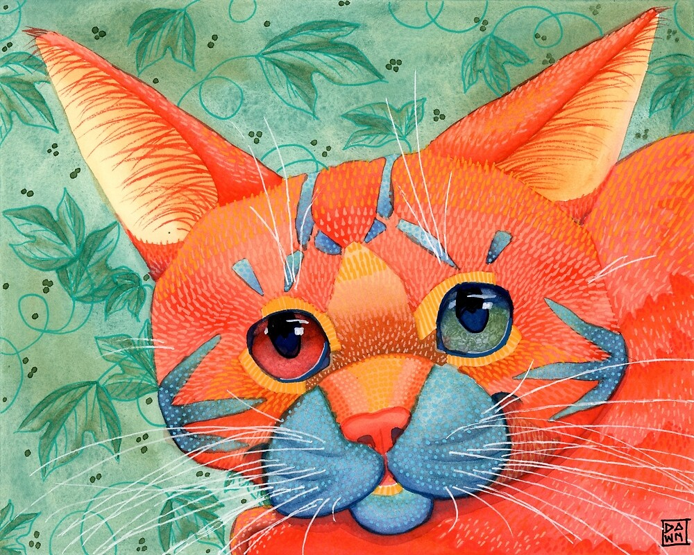 Colorful orange tabby cat painting a beautiful pop art style by Dawn Pedersen