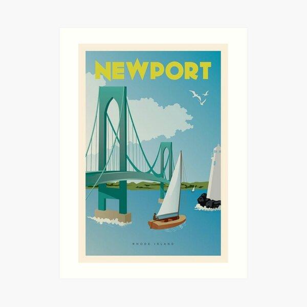 Vintage Discover Newport, Rhode Island Lithograph Wall Art #1 Art Print
