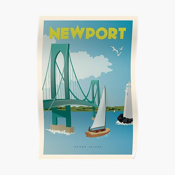 Vintage Discover Newport, Rhode Island Lithograph Wall Art #1 Poster