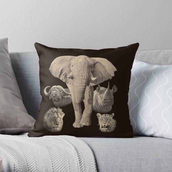 Big Five Africa Safari  Throw Pillow
