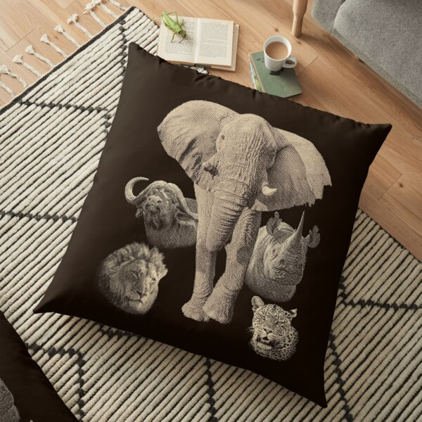 Big Five Africa Safari  Floor Pillow