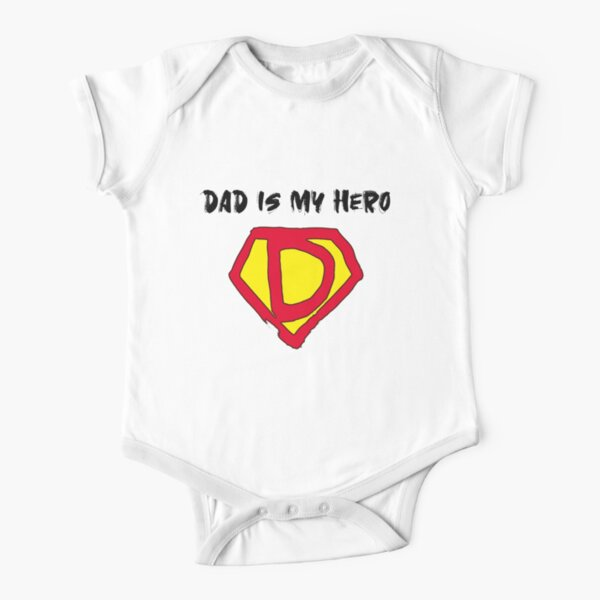 Daddy Is My Hero Design by MahsaWatercolor Short Sleeve Baby One-Piece
