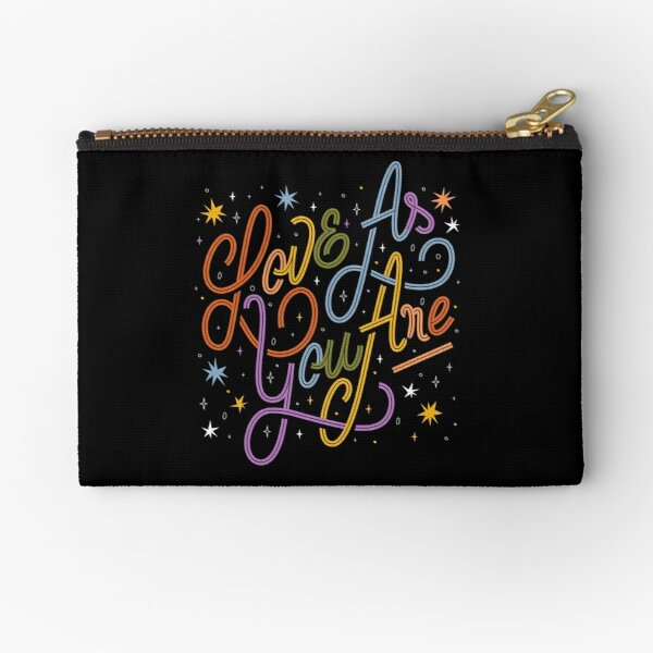 Love As You Are - Rainbow hand lettering LGBT   Zipper Pouch