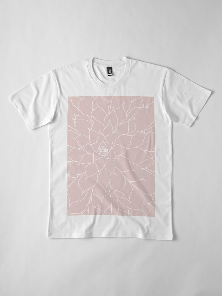 Alternate view of Blush Pink Succulent Premium T-Shirt