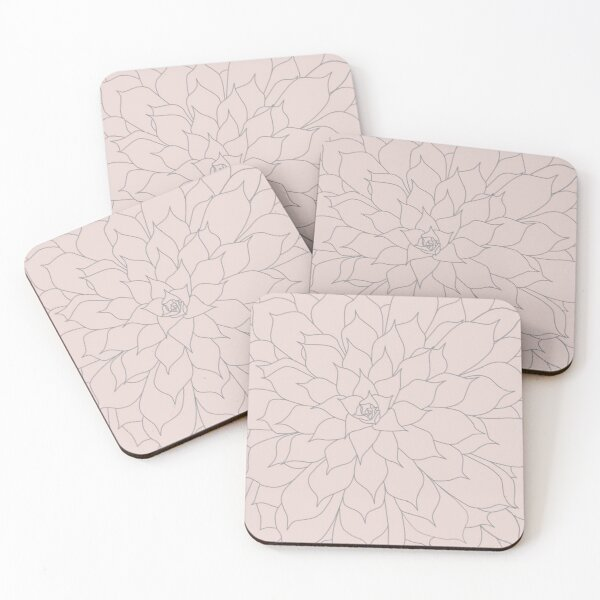 Blush Pink and Grey Succulent Coasters (Set of 4)