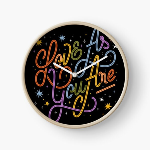 Love As You Are - Rainbow hand lettering LGBT   Clock
