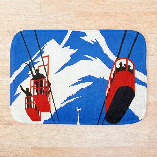 Vintage French Alps Gondola Winter sport ski ad Bath Mat