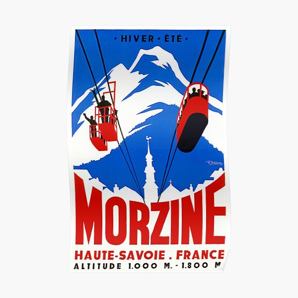 Vintage French Alps Gondola Winter sport ski ad Poster