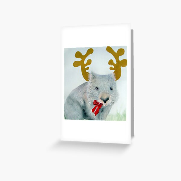 """Christmas Wombat"" Greeting Card"