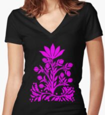 Pink Velvet Flower Fitted V-Neck T-Shirt