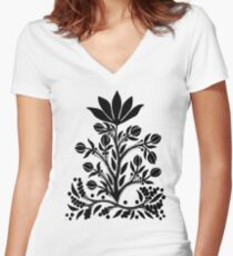 Black Velvet Flower on White Fitted V-Neck T-Shirt
