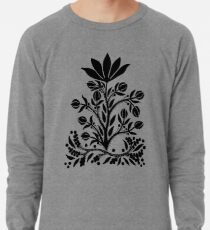 Black Velvet Flower on White Lightweight Sweatshirt