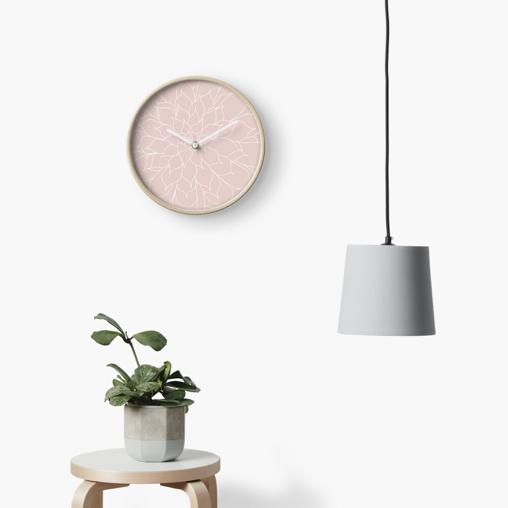 Blush Pink Succulent Clock