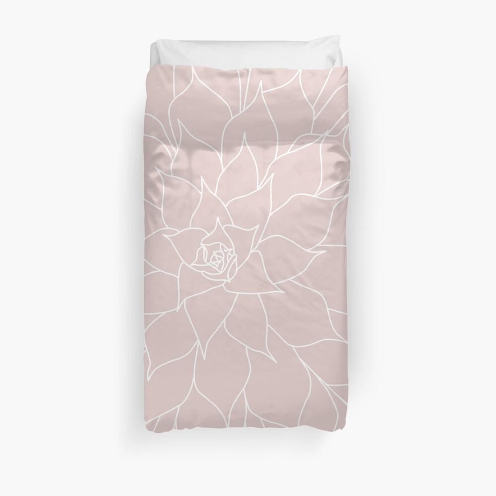 Blush Pink Succulent Duvet Cover