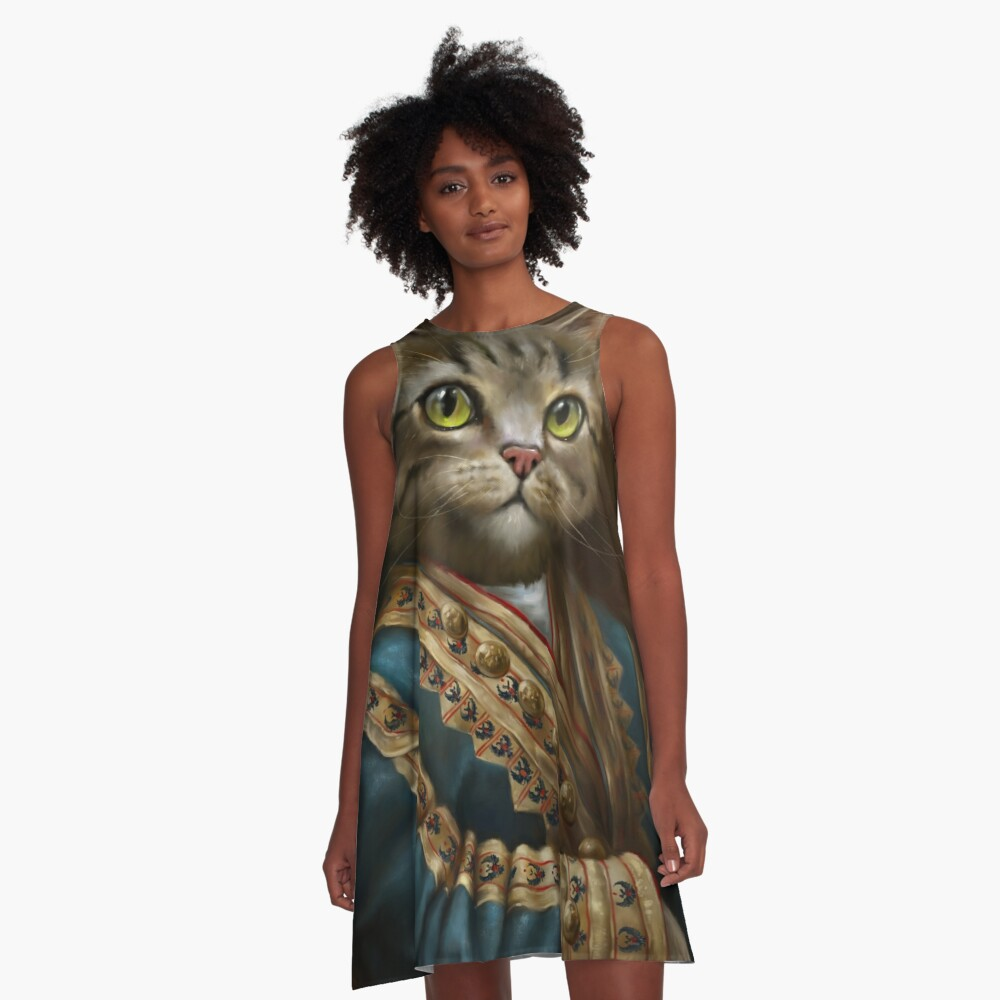 The Hermitage Court Outrunner Cat, alternative proportions A-Line Dress