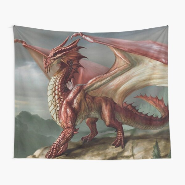 Wall Hanging/Throw Wild Red Winged Dragon Tapestry