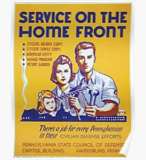 WPA United States Government Work Project Administration Poster 0315 Service on the Home Front Civillian Defense Efforts Poster