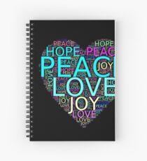 Inspiring Gift - Peace Love Joy Hope Heart Spiral Notebook