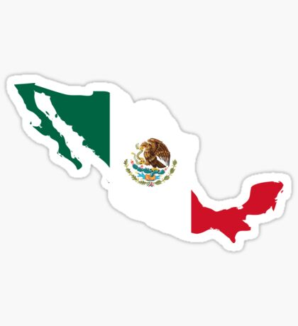 Mexico map with flag colors Sticker