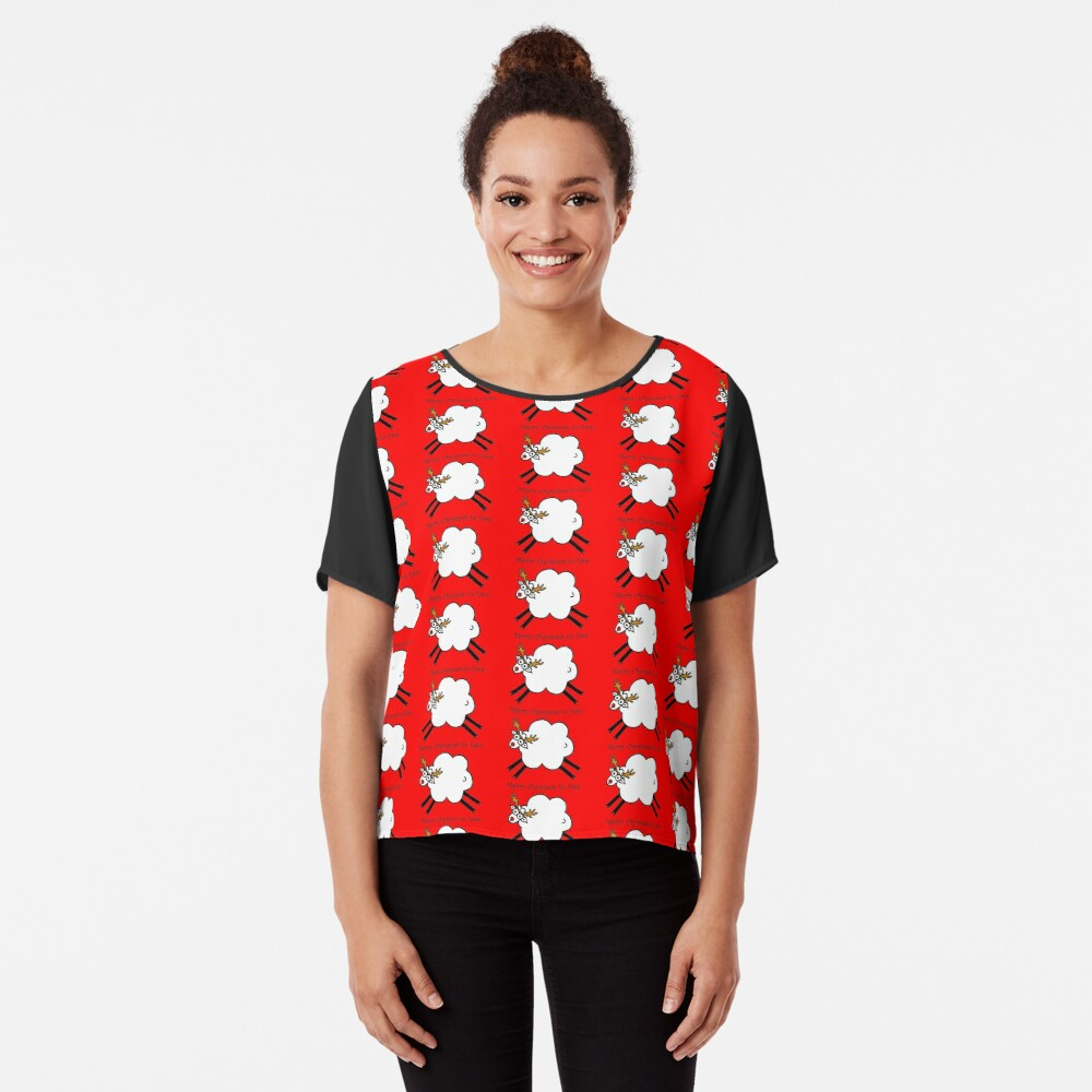 Merry Christmas to Ewe - Rudolph the Red-nosed Rein-sheep Chiffon Top