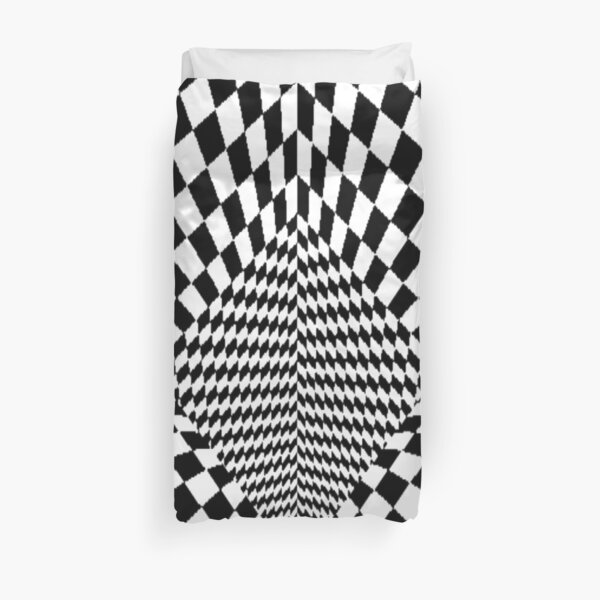 #OpArt, #checkerboard, #chess, finish line, #pattern, design, square, mosaic, plaid, grid, net Duvet Cover