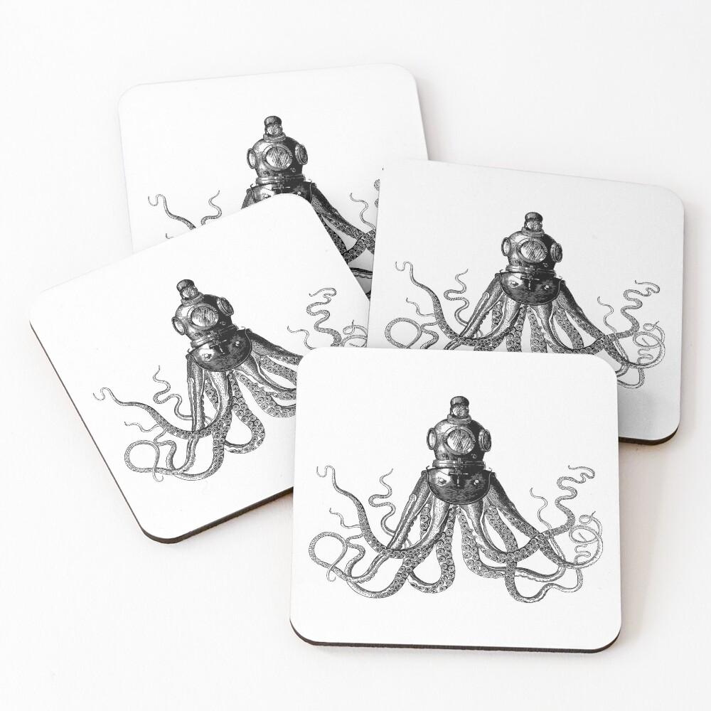 Octopus in Diving Helmet   Deep Sea Divers Helmet   Vintage Octopus   Tentacles   Black and White    Coasters (Set of 4)