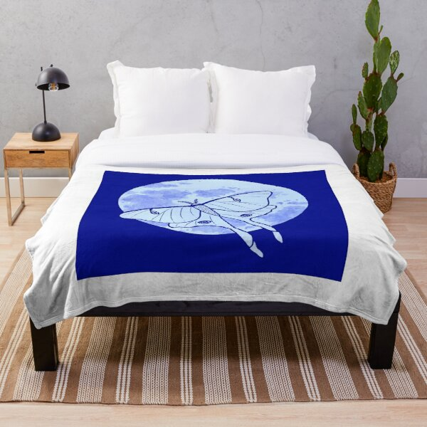 Luna Moth and Full Moon Throw Blanket