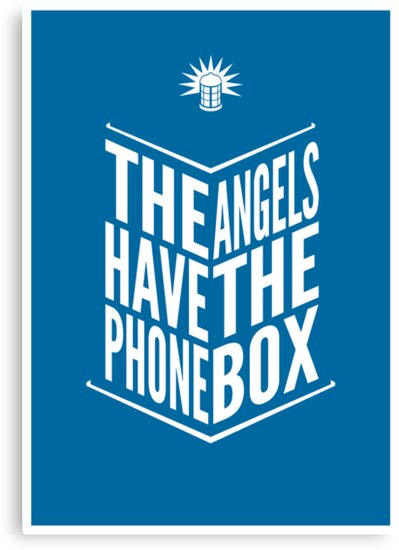 The Angels Have The Phone Box Tribute Poster White On Blue by fauxtauxgraphy