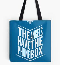 The Angels Have The Phone Box Tribute Poster White On Blue Tote Bag