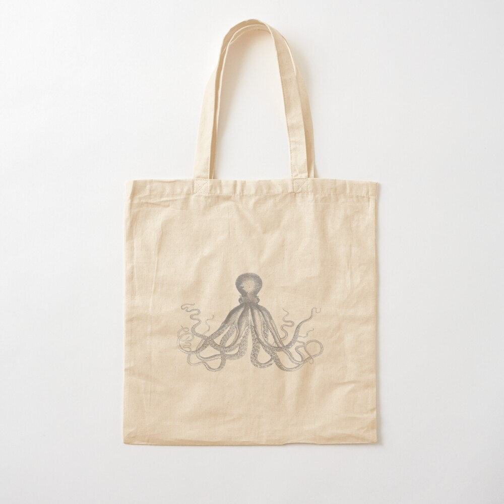 Octopus   Vintage Octopus   Tentacles   Sea Creatures   Nautical   Ocean   Sea   Beach   Grey and White    Cotton Tote Bag
