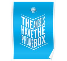 The Angels Have The Phone Box Tribute Poster White On Cyan Poster
