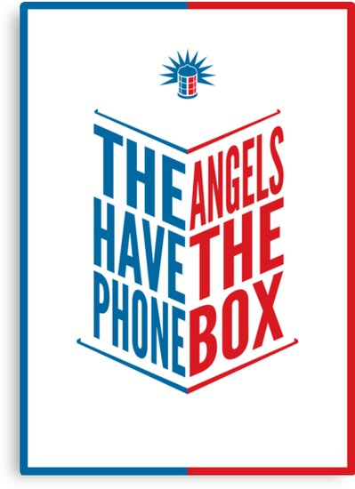 The Angels Have The Phone Box Tribute Poster Dark Blue And Red Knockthrough White by fauxtauxgraphy