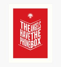 The Angels Have The Phone Box Tribute Poster White On Red Art Print