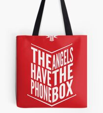 The Angels Have The Phone Box Tribute Poster White On Red Tote Bag